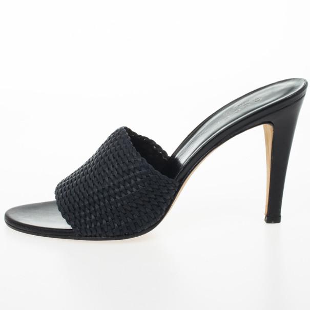 Gucci Black Woven High Heel Slides Size 42