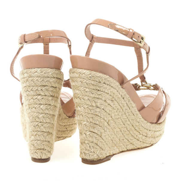 Christian Dior Nude Patent CD2 T Strap Espadrilles Wedges Size 38.5