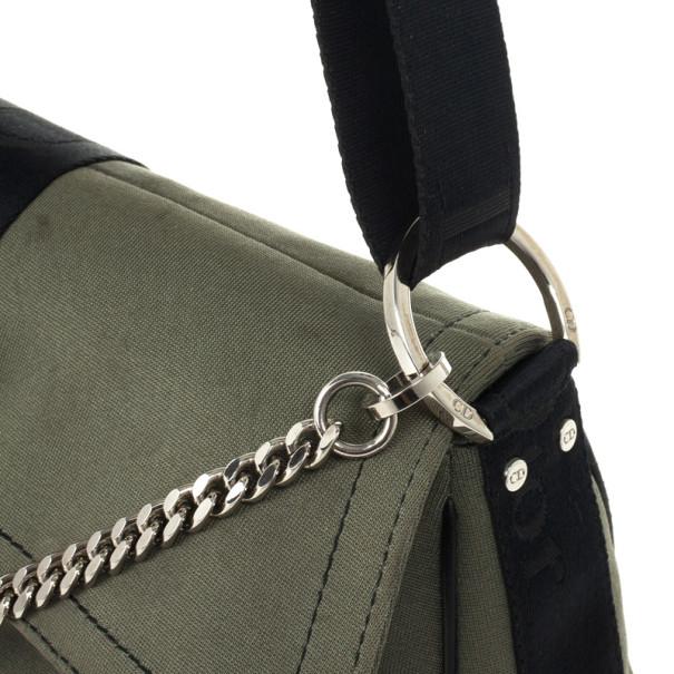 Christian Dior Green and Black Small Dual Strap Shoulder Bag