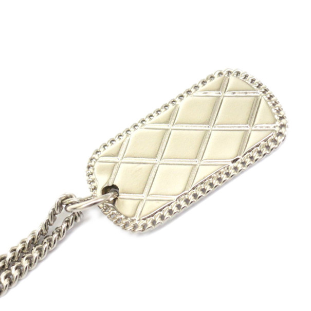 Chanel CC Silver Toned Matelasse Metal Necklace