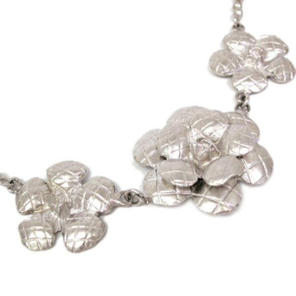 Chanel Camelia Silver Toned Necklace