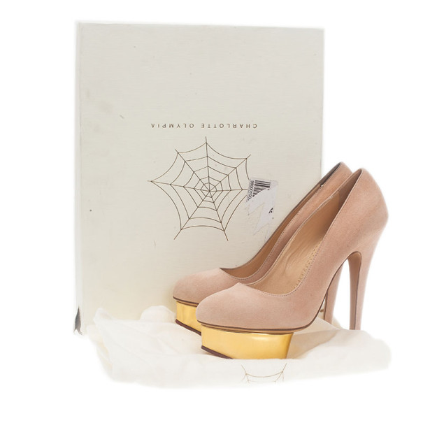 Charlotte Olympia Pink Suede Dolly Platform Pumps Size 36