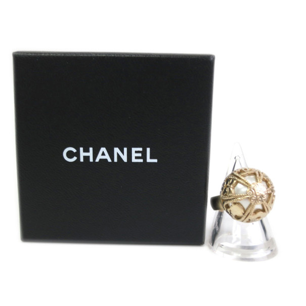 Chanel Clover Logo Round Cocktail Ring Size 53