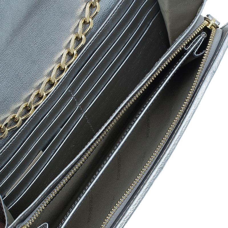 Burberry Metallic Silver Haymarket Classic Check Chain Wallet