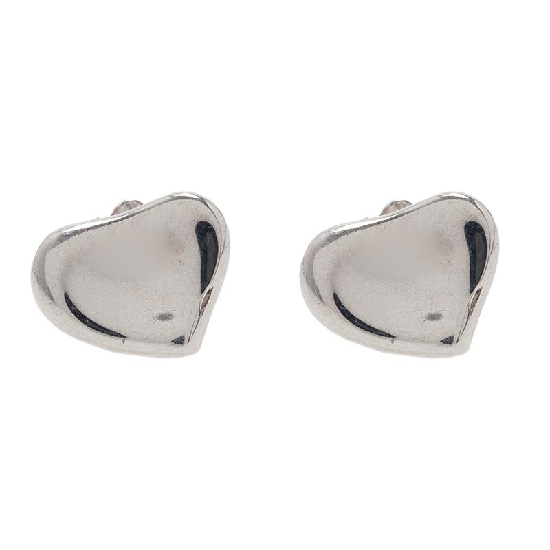 Tiffany & Co. Elsa Peretti Full Heart Silver Stud Earrings