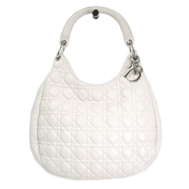 Dior White Leather Cannage Large Hobo