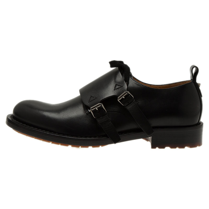 Valentino Black Leather Hard Walk Monk Strap Derby Size 42