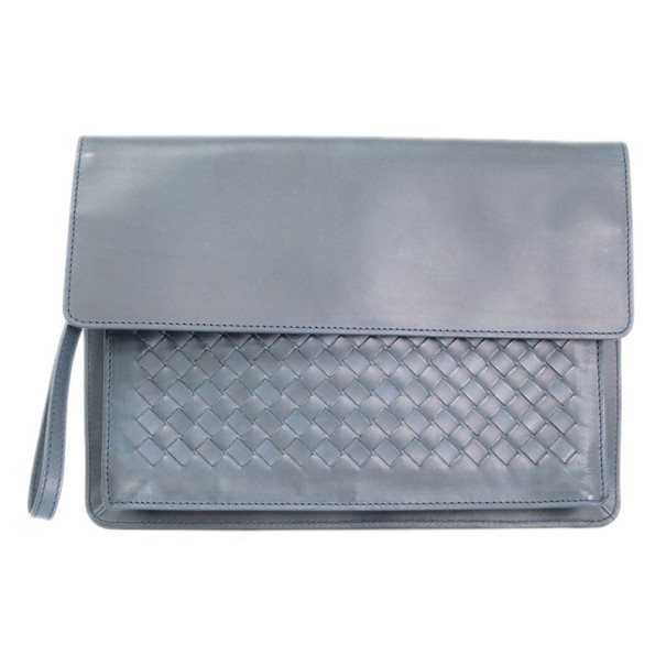 Bottega Veneta Grey Leather Flap Intrecciato Clutch