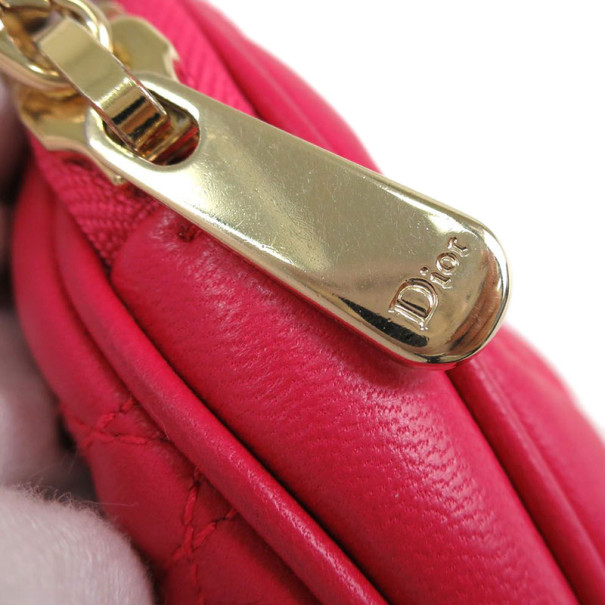 Dior Pink Quilted Lady Dior Pouch