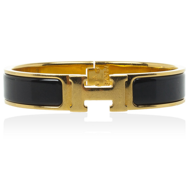Hermes Clic H Black Enameled Gold Plated Bracelet