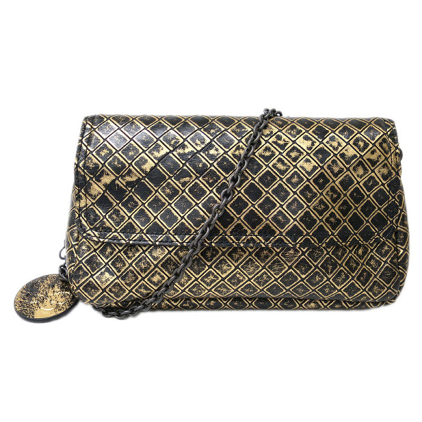 Bottega Veneta Black and Gold Intrecciomirage Leather Chain Shoulder Bag