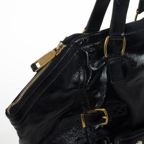 Yves Saint Laurent Black Patent Leather Downtown Tote Bag