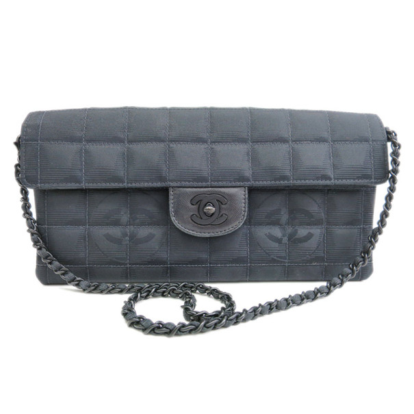 Chanel Grey Fabric Matlasse Chocolate Bar Flap Bag