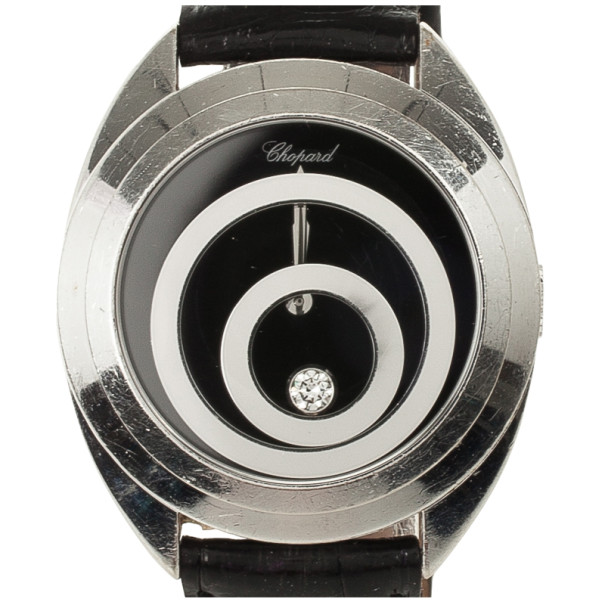 Chopard Happy Spirit White Gold Leather Womens Wristwatch 37 MM