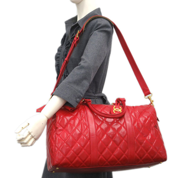 Chanel Red Patent Leather Boston Bag