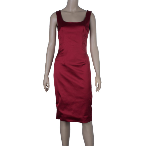 D and G Red Satin Sleeveless Cocktail Dress M