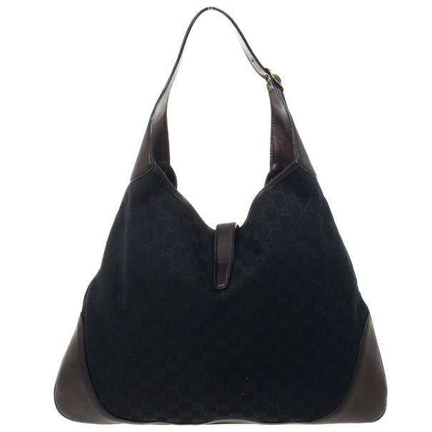 Gucci Black Monogram Jackie O Hobo