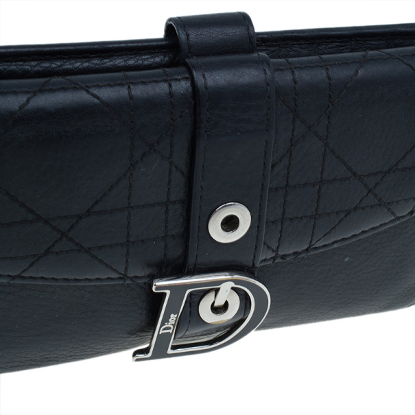 Dior Black Cannage Leather D Charm Wallet