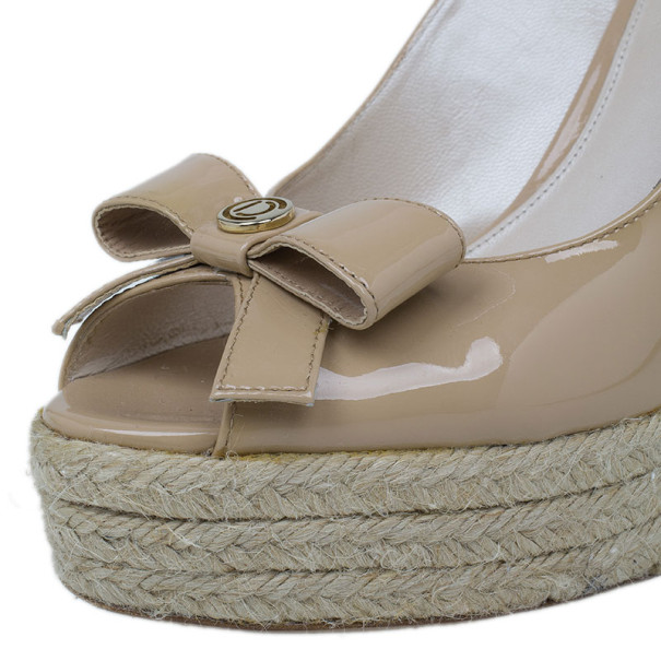 Dior Beige Patent Bow Espadrilles Slingback Wedges Size 37