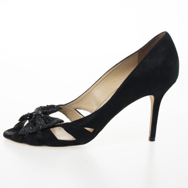 Jimmy Choo Black Talva Shimmer Suede Peep Toe Pumps Size 41