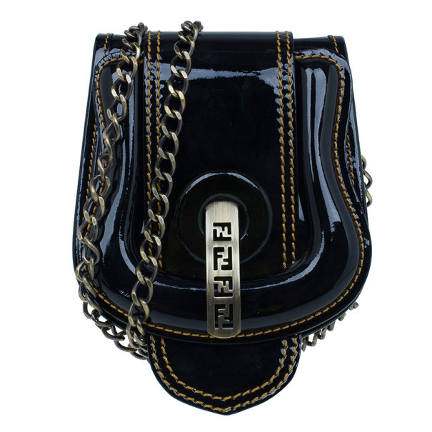 Fendi Black Patent Leather B Crossbody Clutch