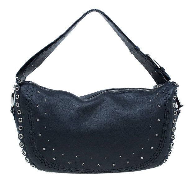 Christian Dior Black Studded Leather Shoulder Bag