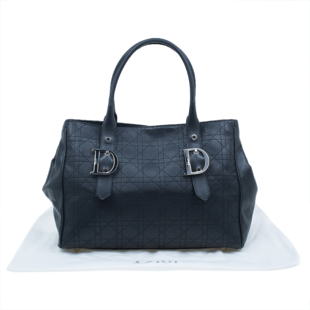 Dior Black Cannage Leather Large Quilted Tote