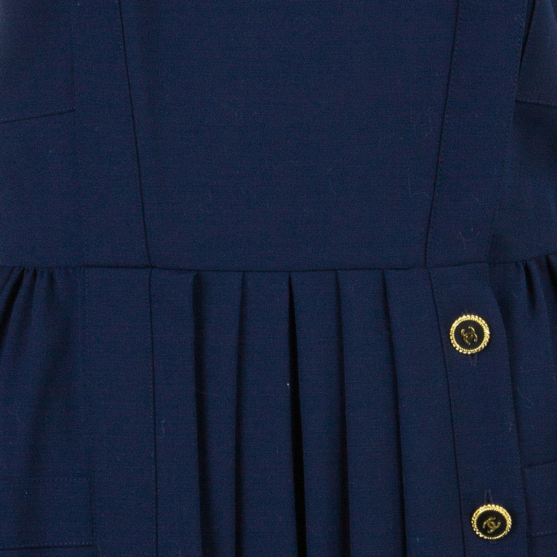 Chanel Navy Tweed Midi Dress L