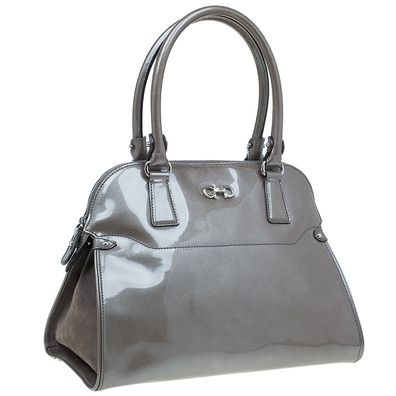 Salvatore Ferragamo Silver Patent Leather Satchel Bag