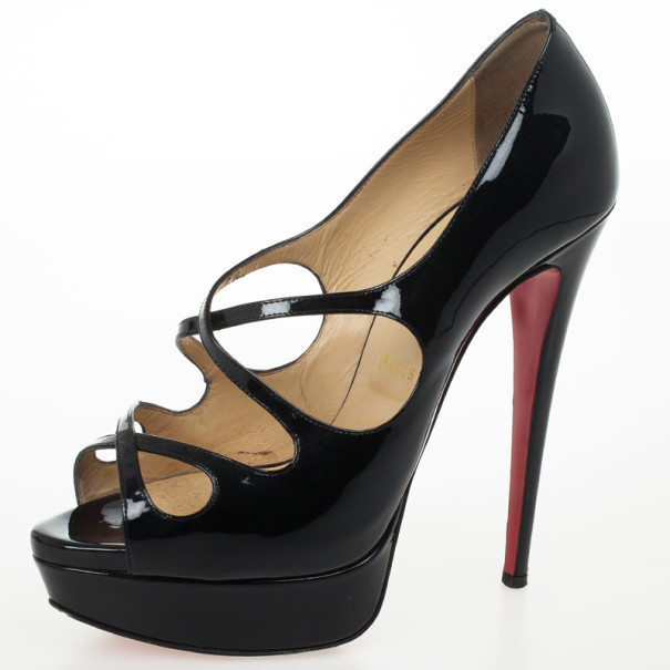Christian Louboutin Black Patent Criss Cross Mademoi 150mm Platform Pumps Size 40