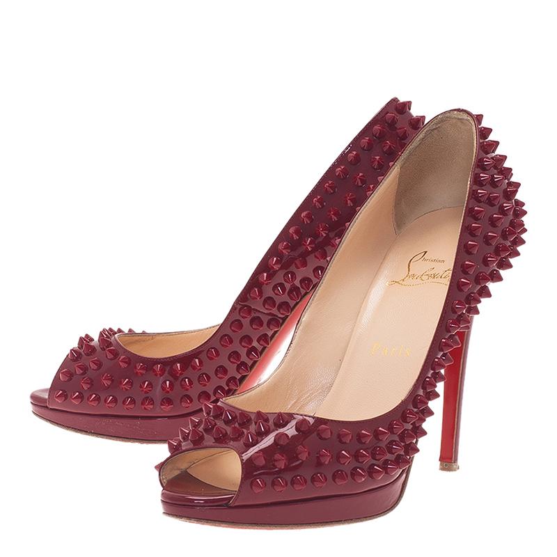 Christian Louboutin Maroon Patent Yolanda Spikes Peep Toe Pumps Size 39