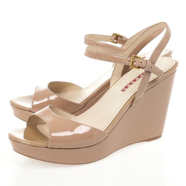 Prada Sport Tan Patent Wedges Sandals Size 39