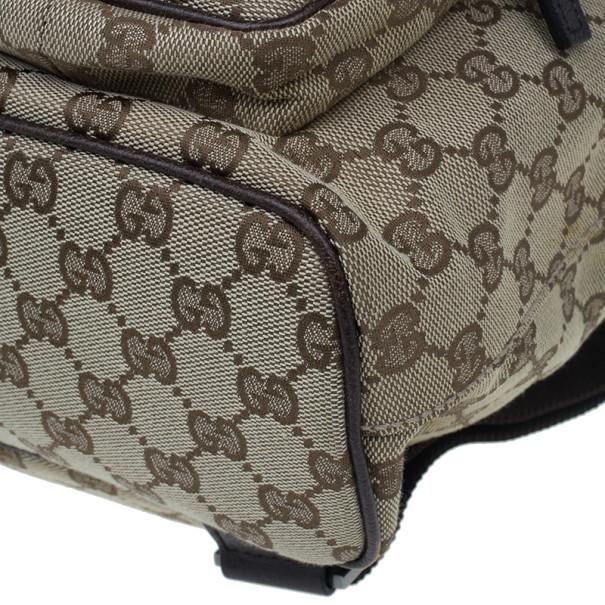 Gucci Brown Original GG Embossed Monogram Canvas Backpack