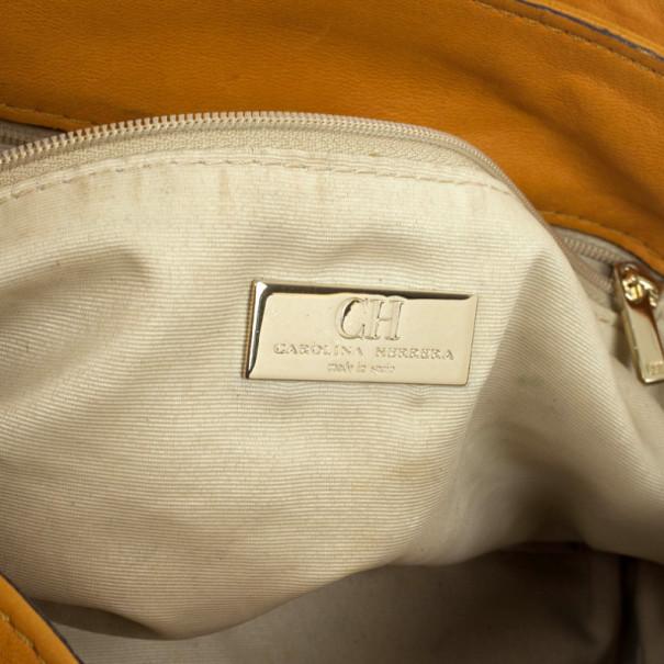 Carolina Herrera Tan Embossed  Shoulder Bag