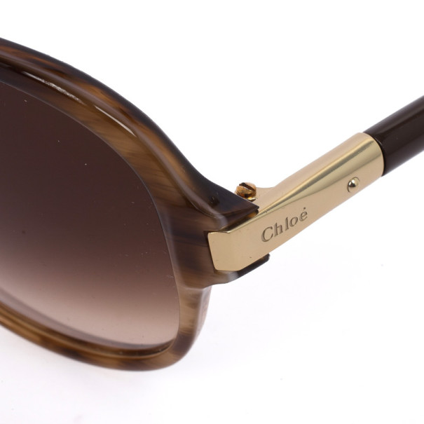 Chloe Brown Horn Acrylic Round Oversize Sunglasses
