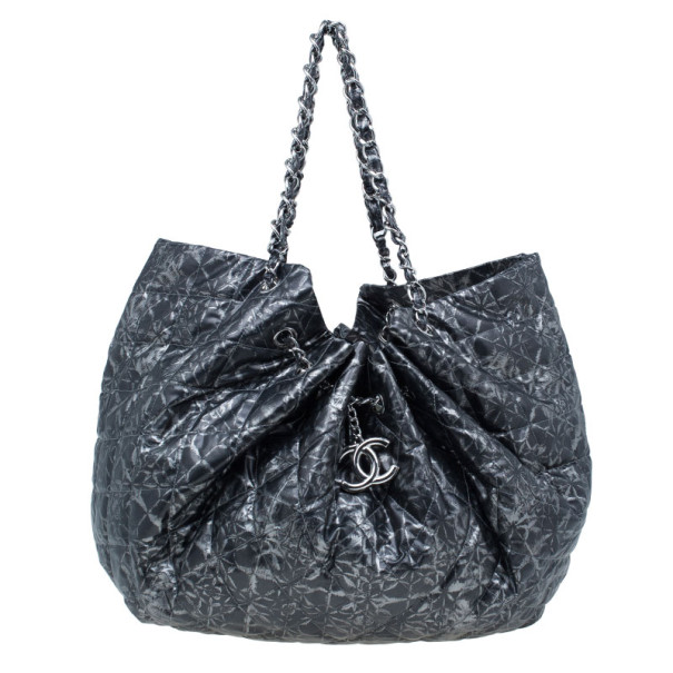 Chanel Metallic Grey Leather Large Hobo