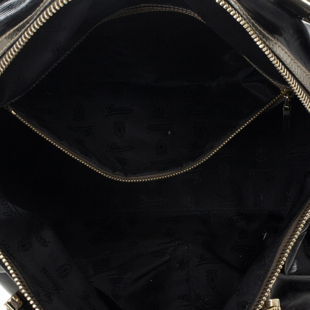 Gucci Black Coated Canvas Pop Bamboo Handle Bag