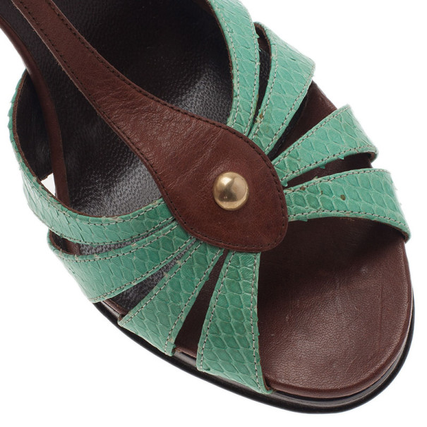 Valentino Turquoise and Brown Leather Ankle Strap Sandals Size 37.5