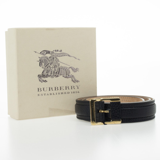 Burberry Black Leather Canmore Belt 80 CM