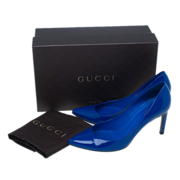 Gucci Blue Patent Brooke Pointed Toe Pumps Size 37.5