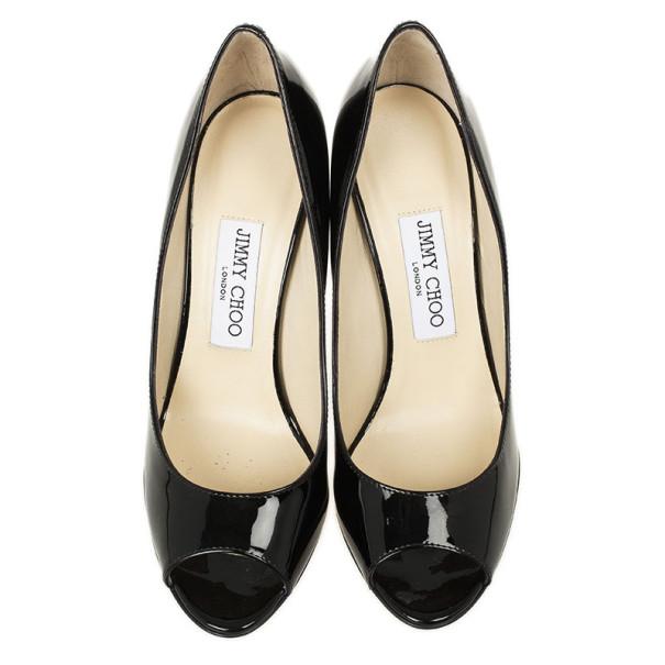 Jimmy Choo Black Patent Bello Peep Toe Wedges Size 37