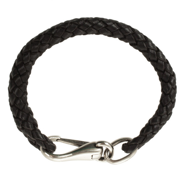 Gucci Brown Leather Woven Bracelet 20 CM