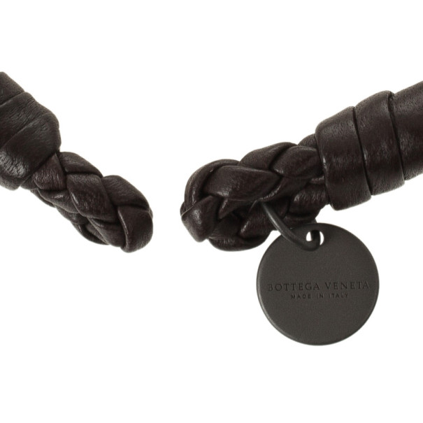Bottega Veneta Brown Woven Intrecciato Leather Bracelet