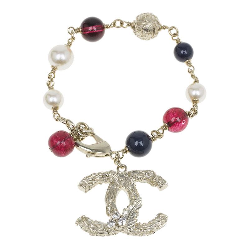 Chanel CC Crystal Multicolor Beads Silver Tone Bracelet