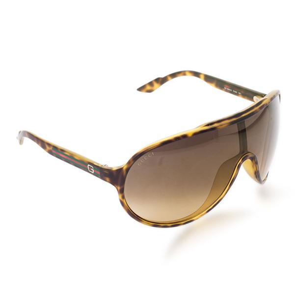 Gucci Tortoise Frame GG1004/S Web Detail Unisex Shield Sunglasses