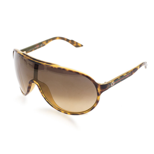 Gucci Tortoise Frame GG1004/S Web Detail Unisex Shield Sunglasses