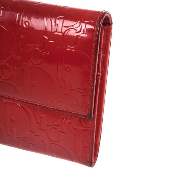 Christian Dior Red Patent Logo Embossed 'Ultimate' Continental Wallet