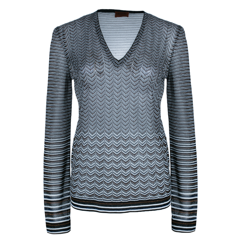 Missoni Multicolor Zig-Zag Long Sleeve Top M
