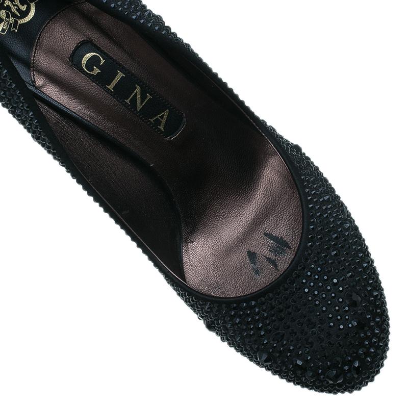 Gina Black Crystal Coated Platform Pumps Size 39