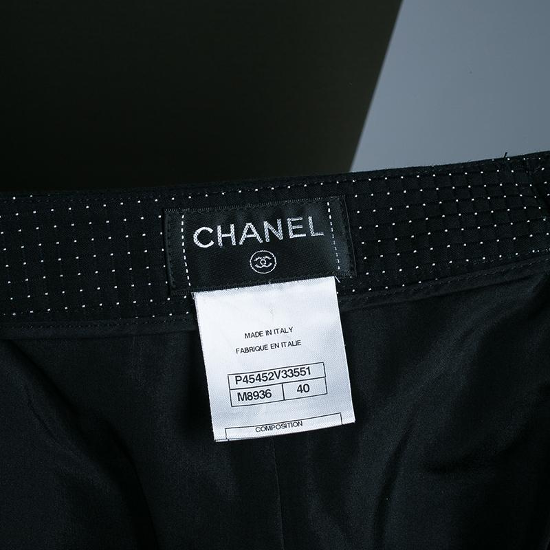 Chanel Black Polka Dot Maxi Skirt M